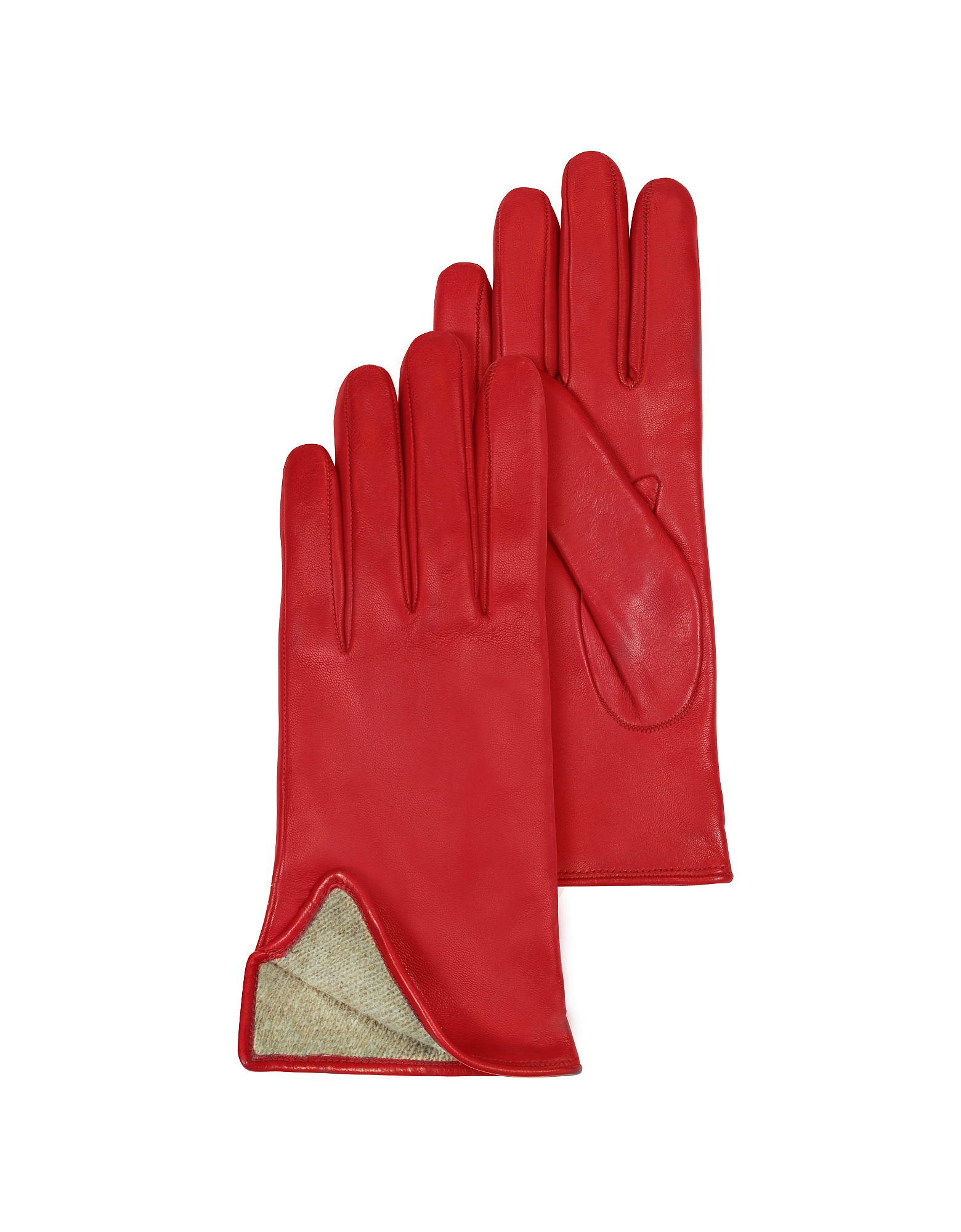 Red Leather Women's Gloves w/Cashmere Lining от Forzieri.com INT