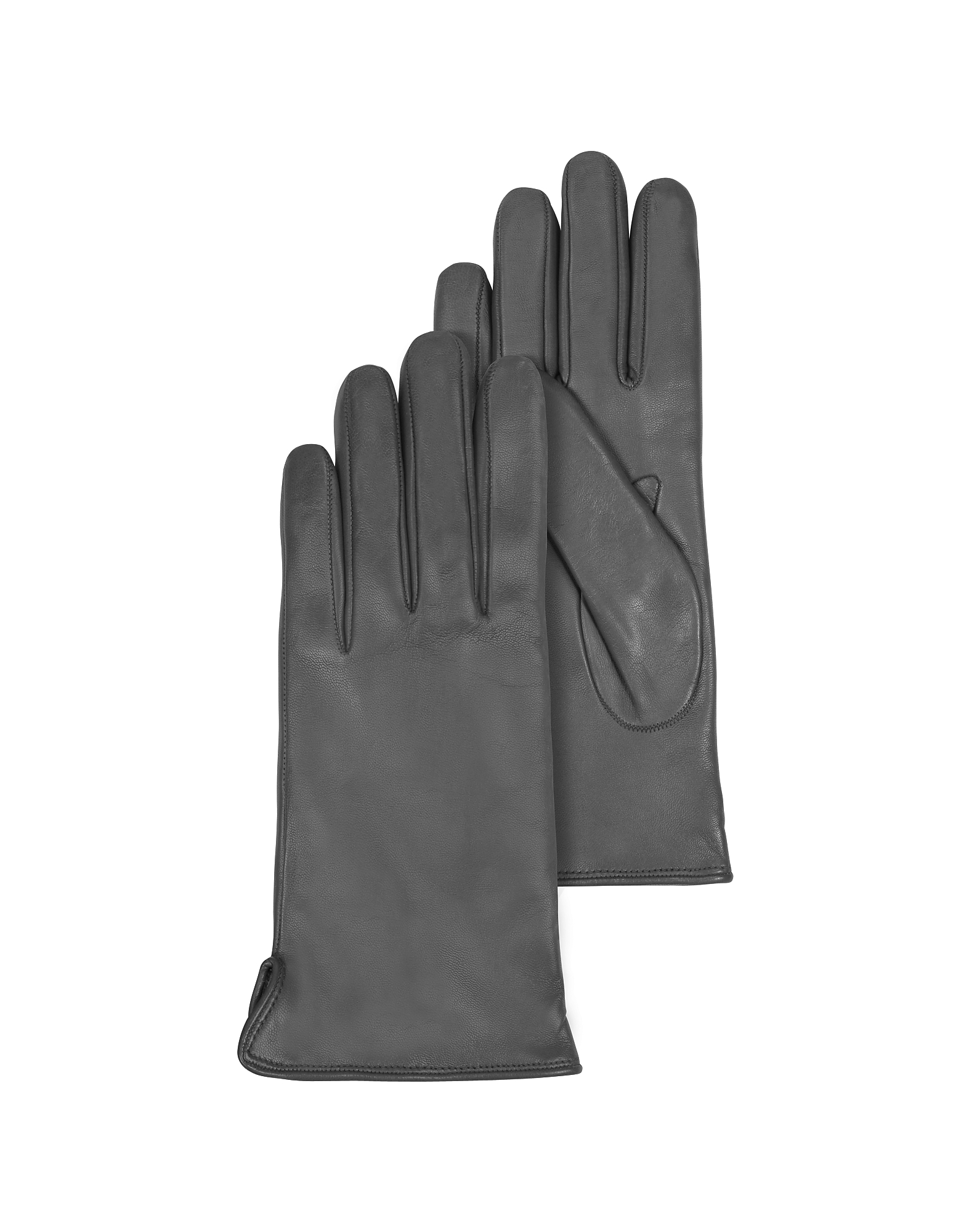 Forzieri Women's Gloves, Dark Gray Leather Women's Gloves w/Cashmere Lining