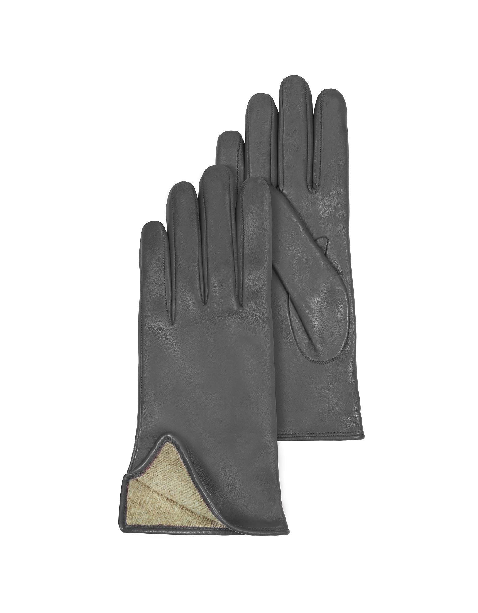 Dark Gray Leather Women's Gloves w/Cashmere Lining от Forzieri.com INT