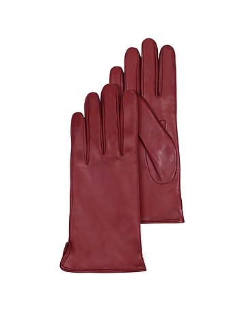 Forzieri - Burgundy Leather Women's Gloves w/Cashmere Lining