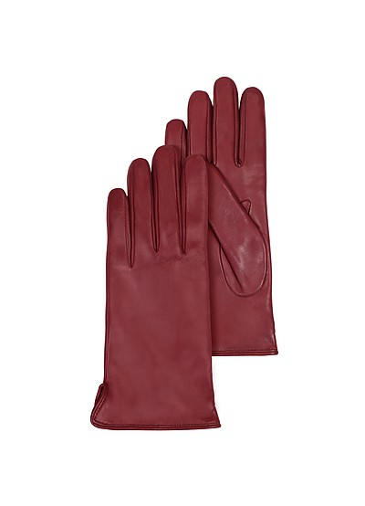 Burgundy Leather Women's Gloves w/Cashmere Lining - Forzieri