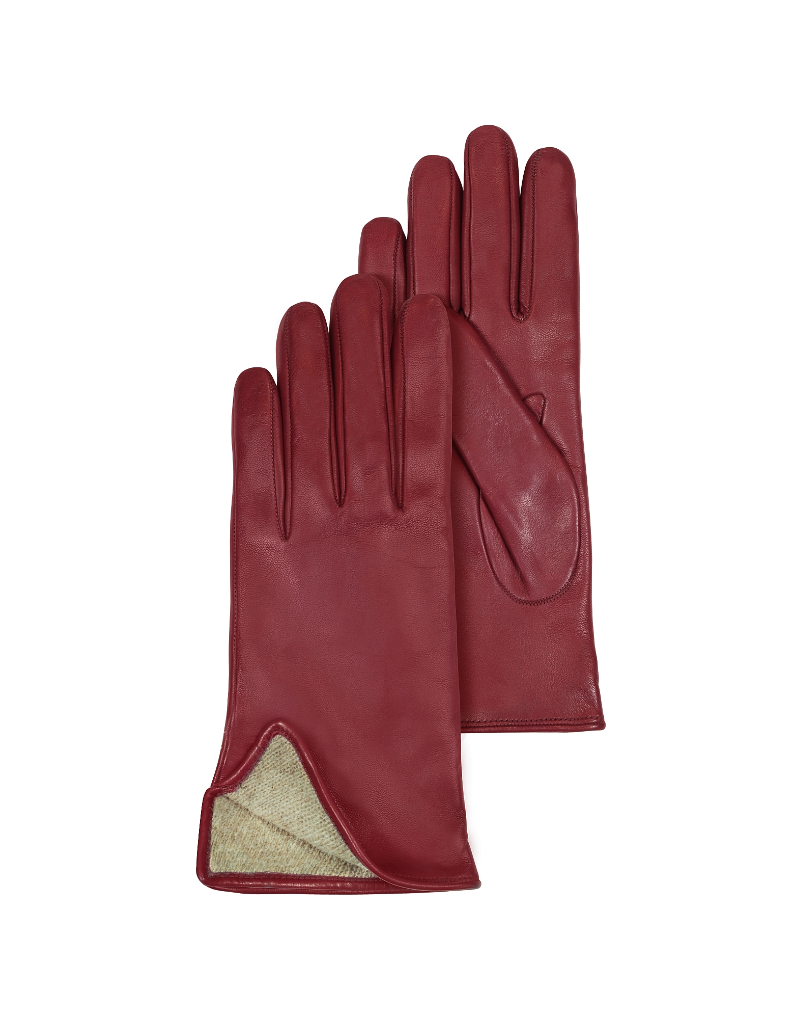 Burgundy Leather Women's Gloves w/Cashmere Lining от Forzieri.com INT