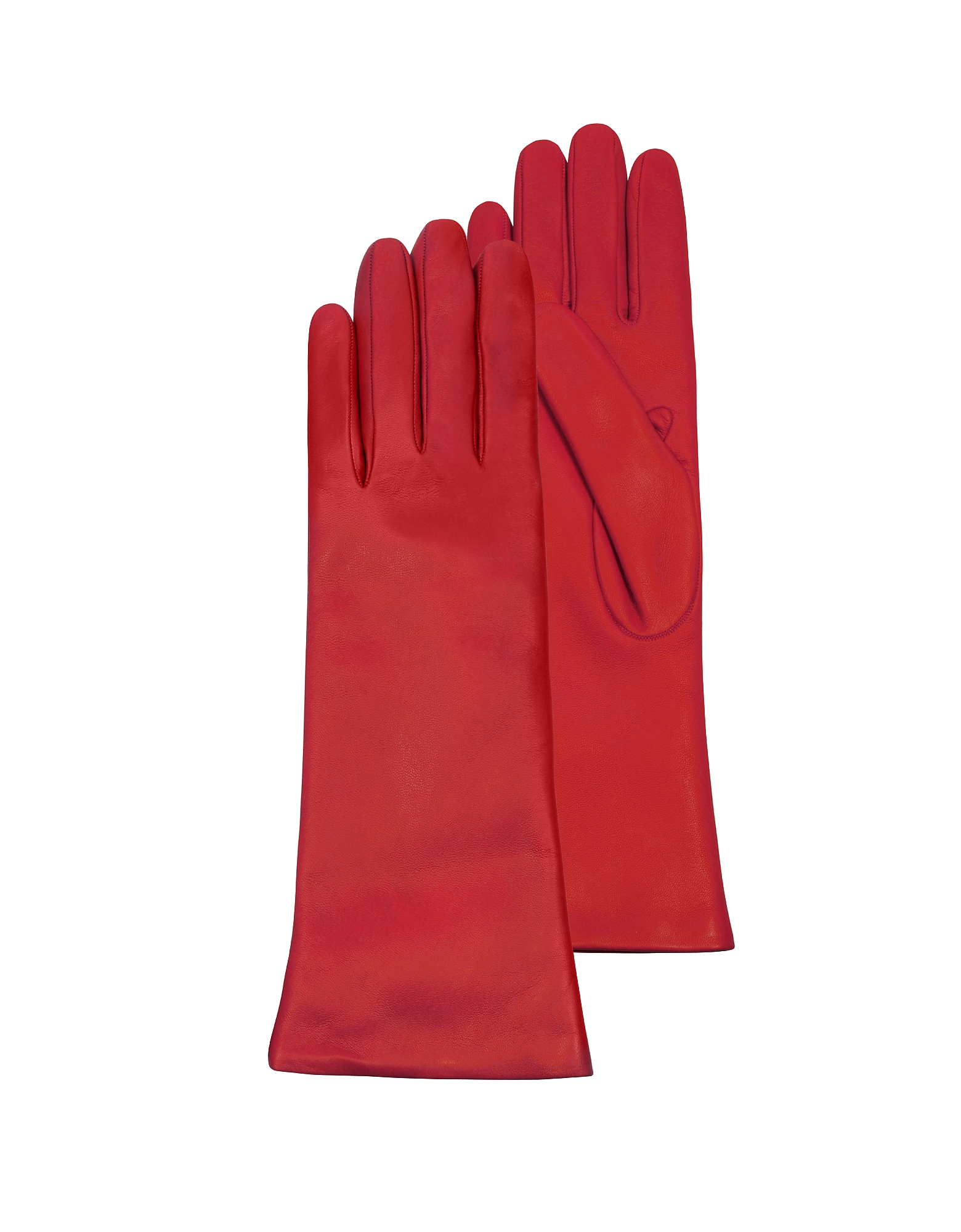 Forzieri Women's Gloves, Red Leather Women's Long Gloves w/Cashmere Lining