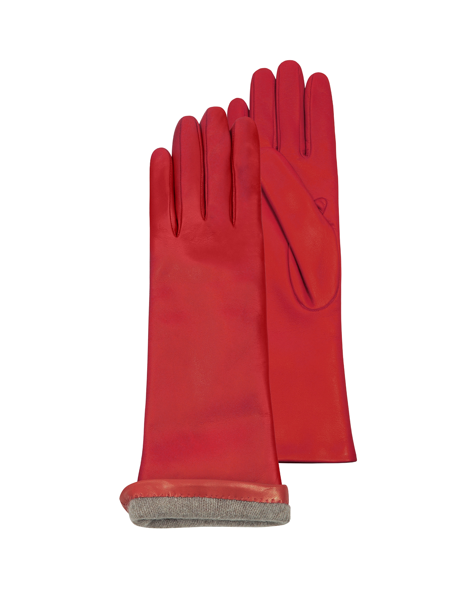 Red Leather Women's Long Gloves w/Cashmere Lining от Forzieri.com INT