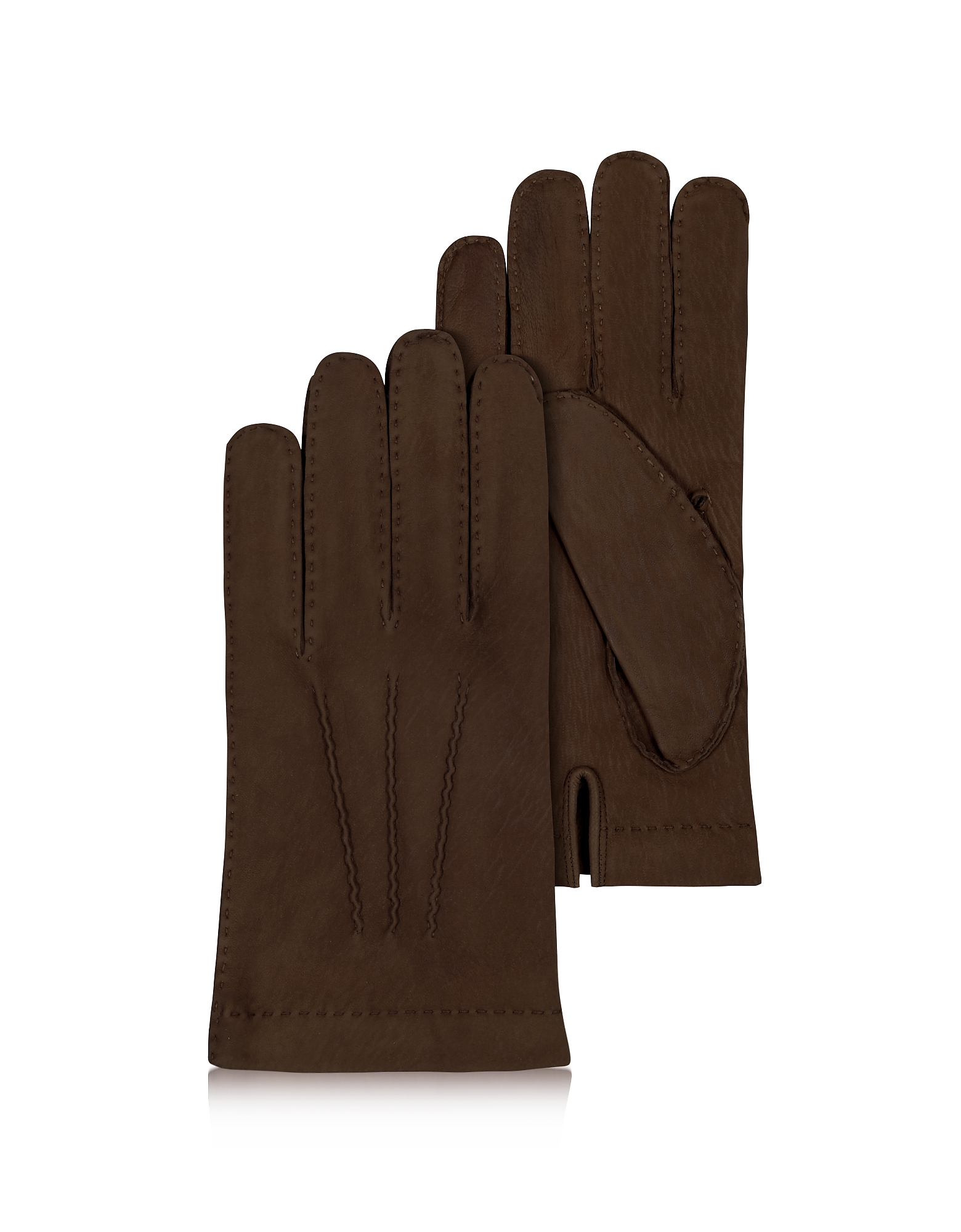 Forzieri Men's Gloves, Men's Cashmere Lined Dark Brown Italian Calf Leather Gloves