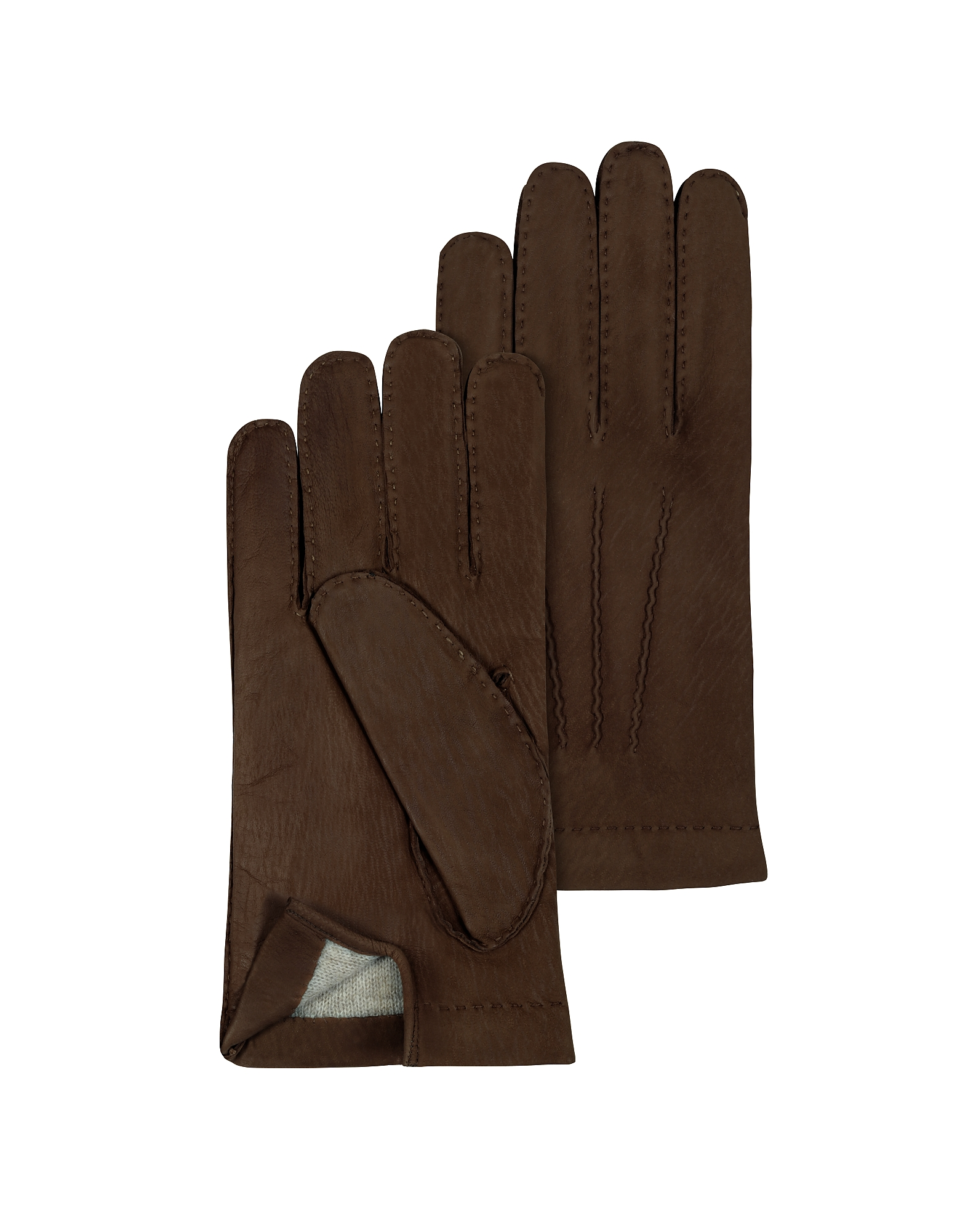 Men's Cashmere Lined Dark Brown Italian Calf Leather Gloves от Forzieri.com INT