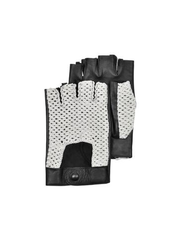 Lux-ID 209949 Black Leather and Cotton Men's Driving Gloves