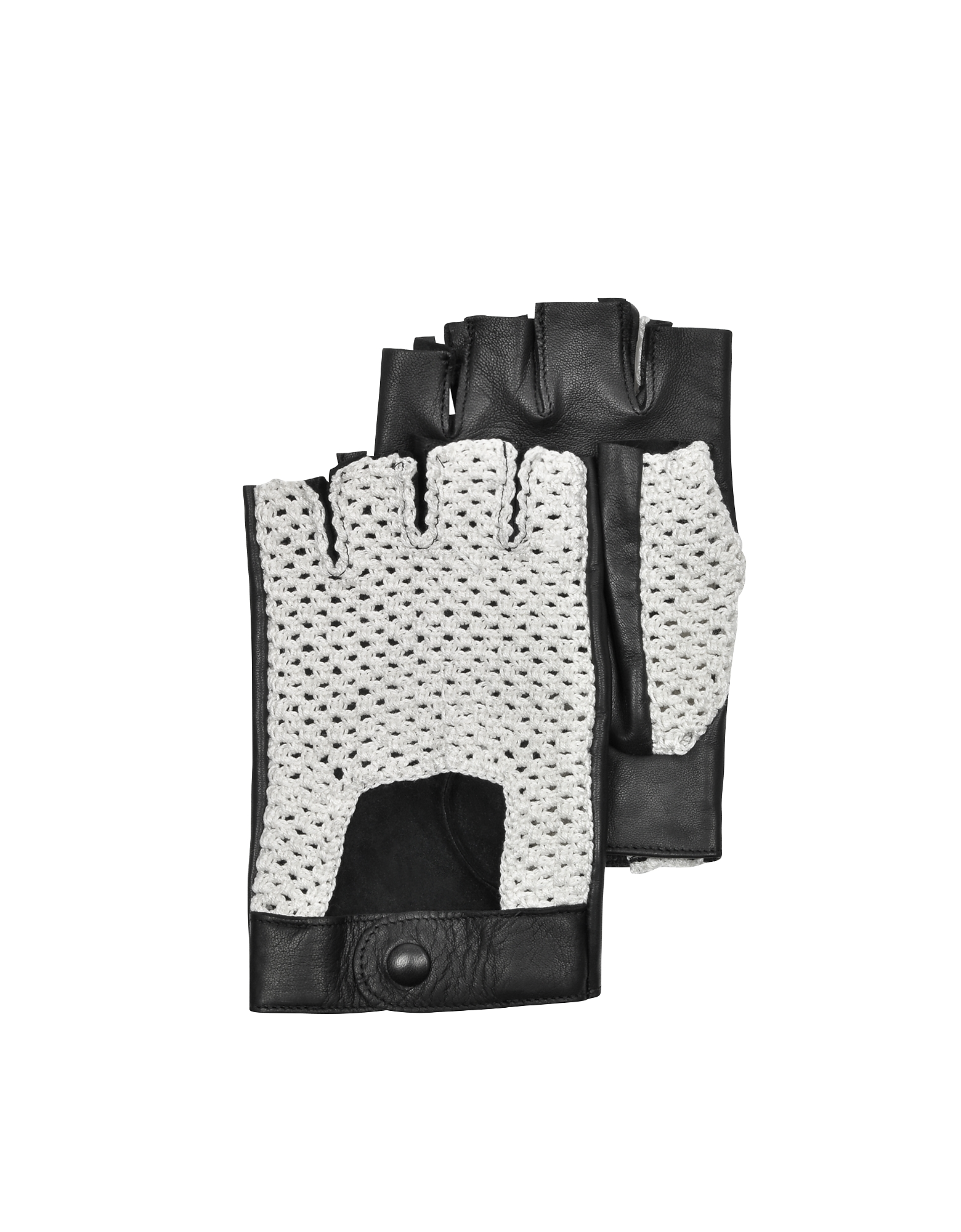 Forzieri Men's Gloves, Black Leather and Cotton Men's Driving Gloves