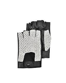Herren-Handschuhe aus Leder und Baumwolle in schwarz - Forzieri