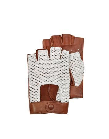 Lux-ID 209950 Brown Leather and Cotton Men's Driving Gloves