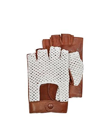 Brown Leather and Cotton Men's Driving Gloves