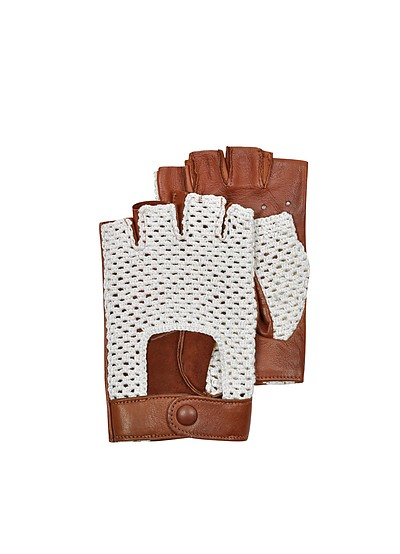Brown Leather and Cotton Men's Driving Gloves - Forzieri