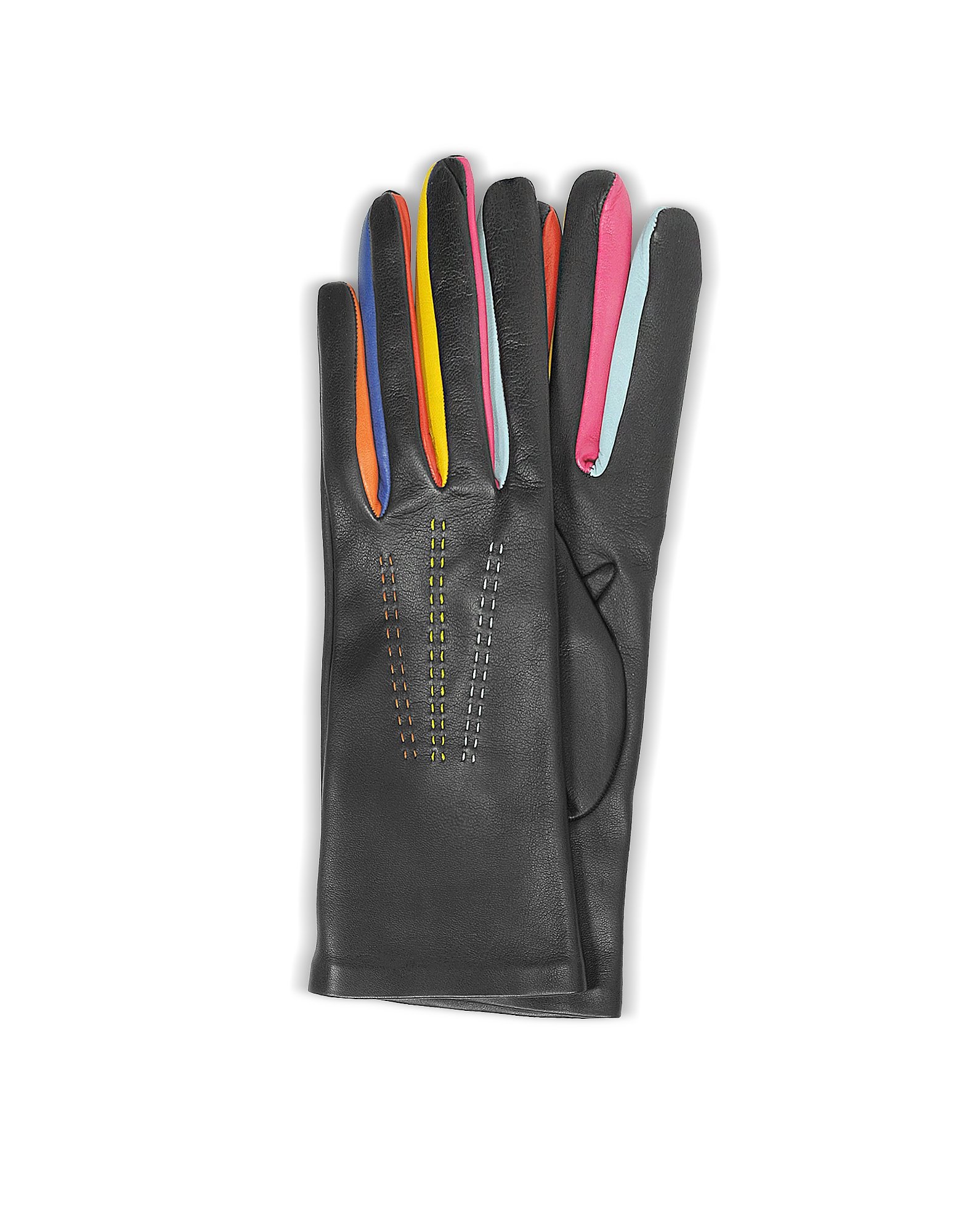 Forzieri Women's Gloves, Arlecchino Black Leather Women's Gloves w/Silk Lining