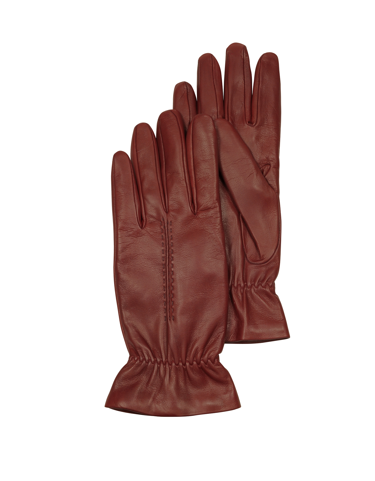 Forzieri Women's Gloves, Burgundy Leather Women's Gloves w/Wool Lining