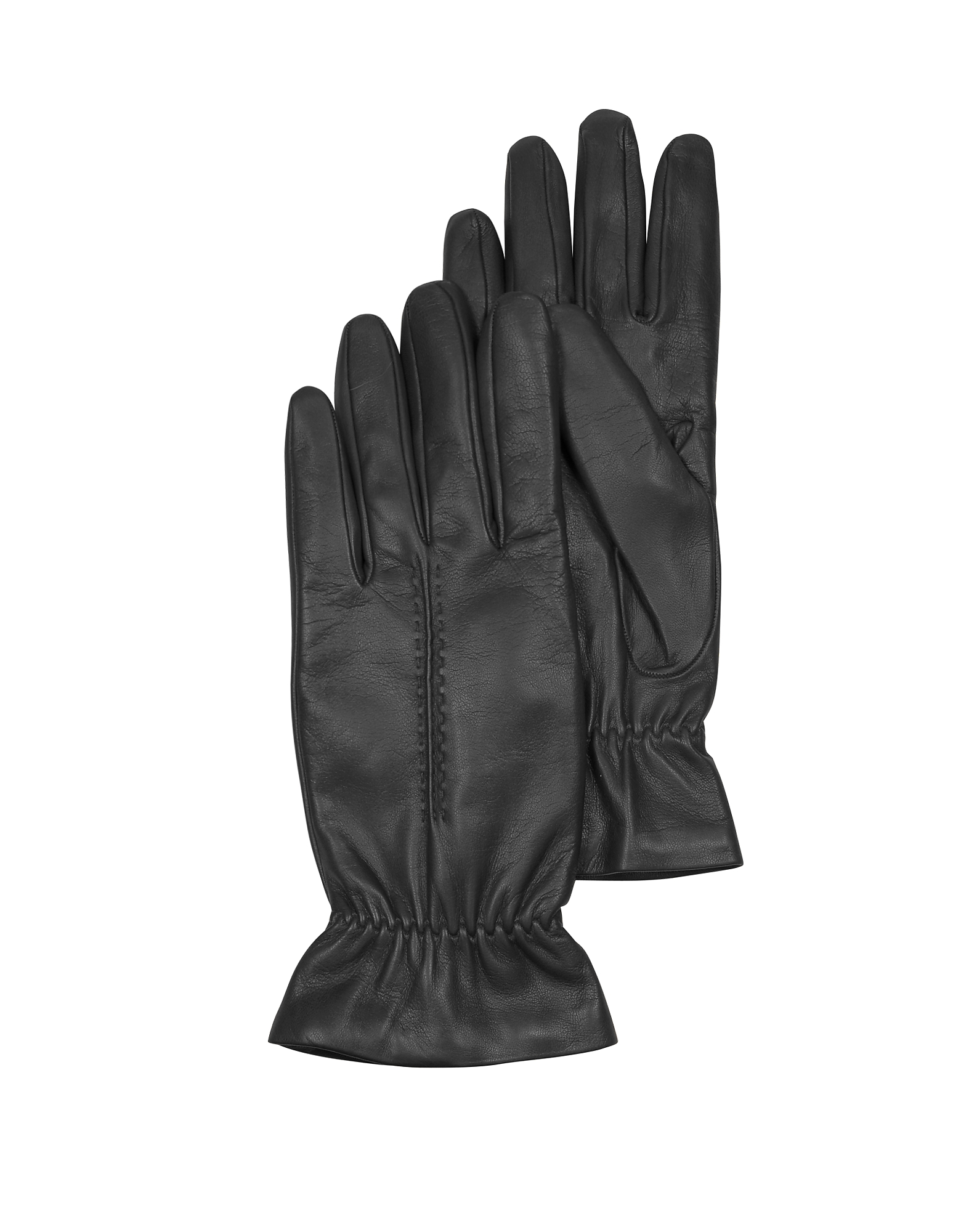 Forzieri Black Leather Women's Gloves w/Wool Lining