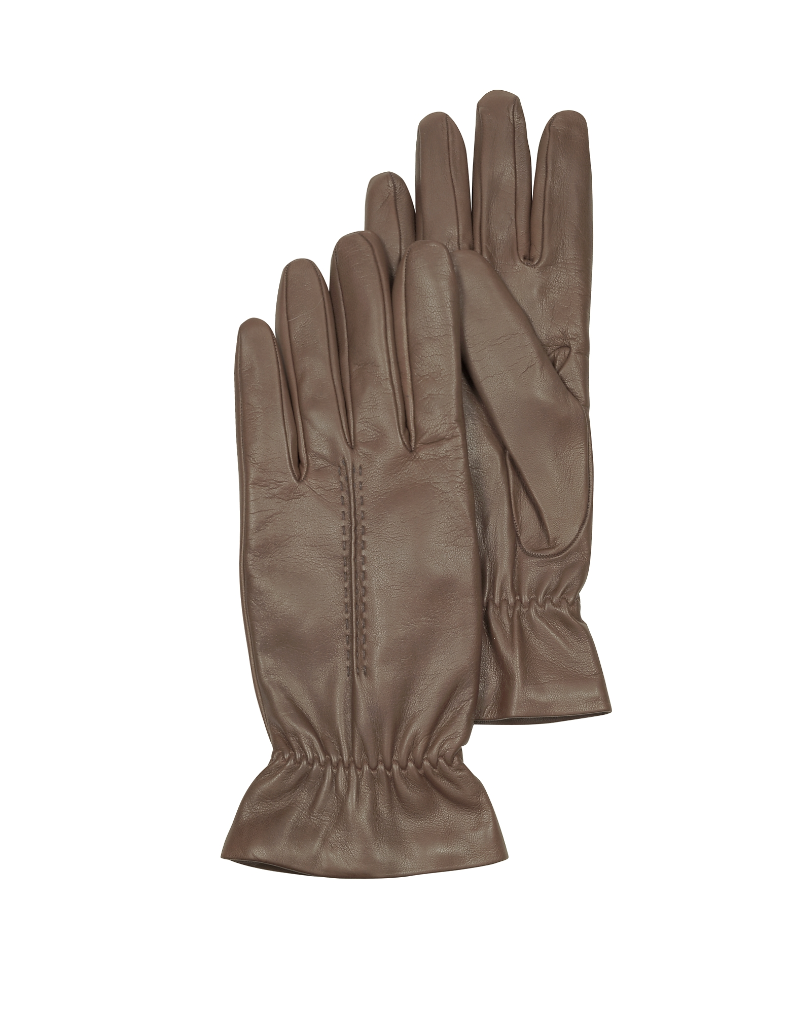 Forzieri Taupe Leather Women's Gloves w/Wool Lining