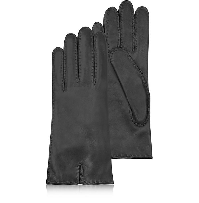 Women's Cashmere Lined Black Italian Leather Gloves - Forzieri