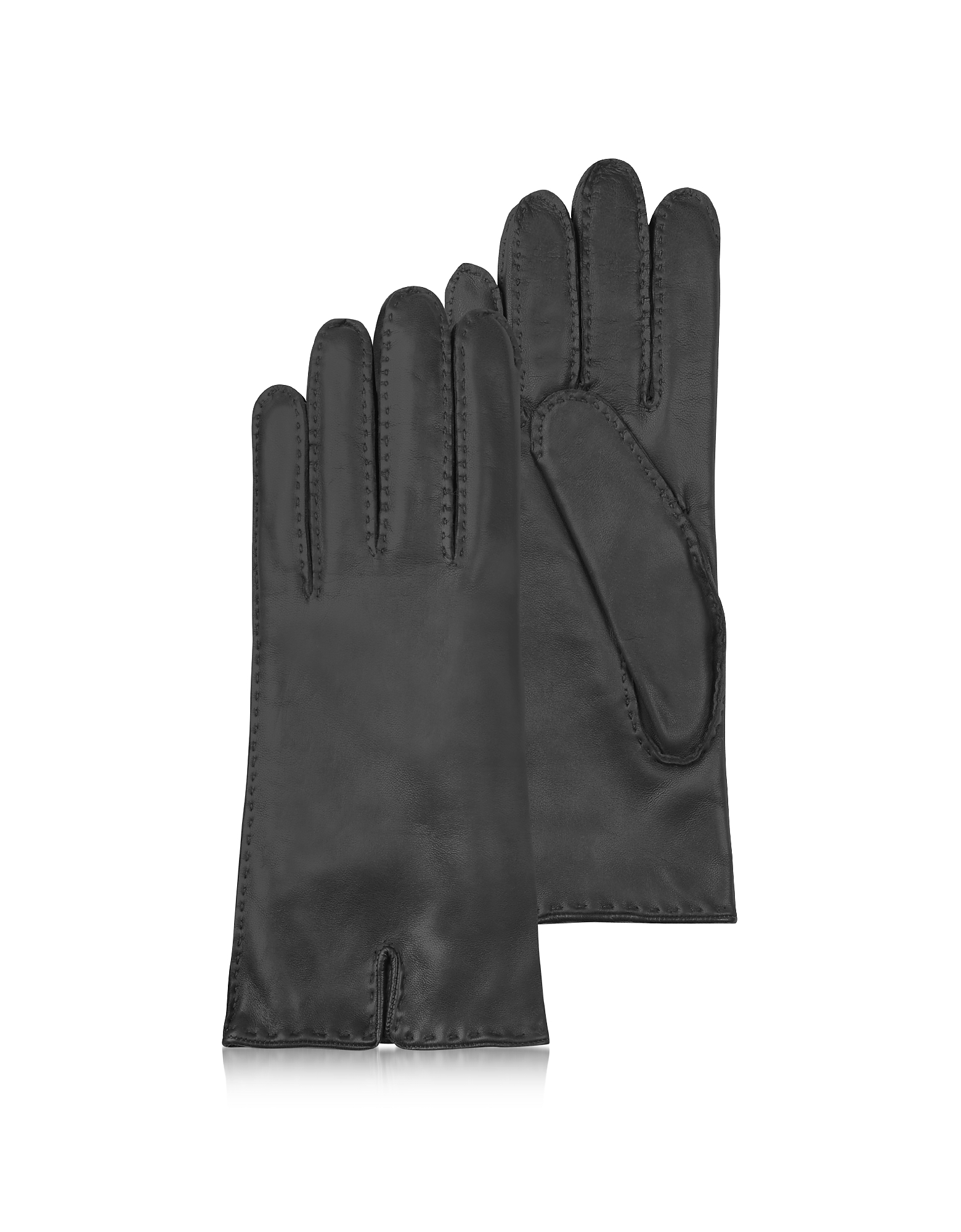Forzieri Women's Gloves, Women's Cashmere Lined Black Italian Leather Gloves