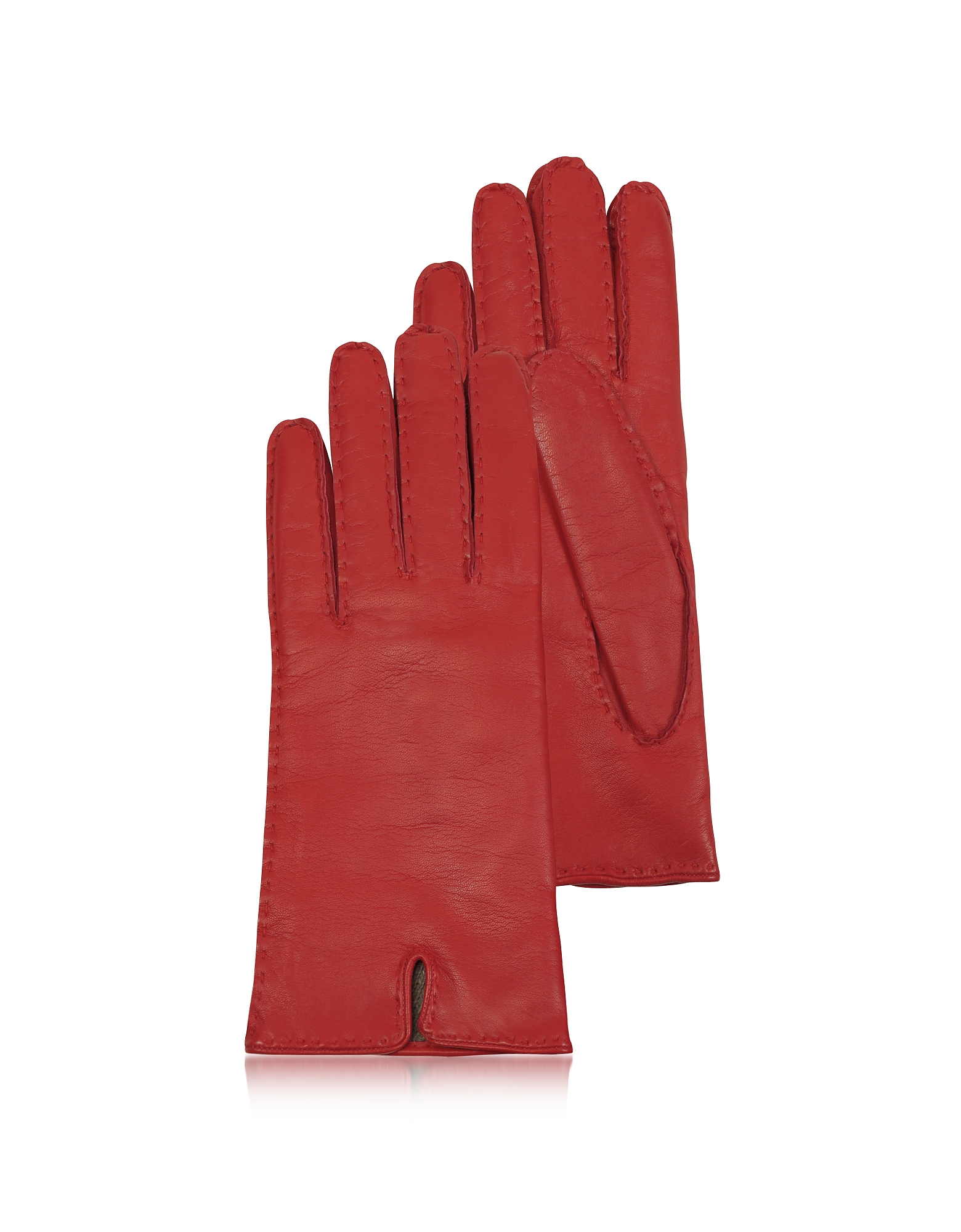 Forzieri Designer Women's Gloves, Women's Cashmere Lined Red Italian Leather Gloves