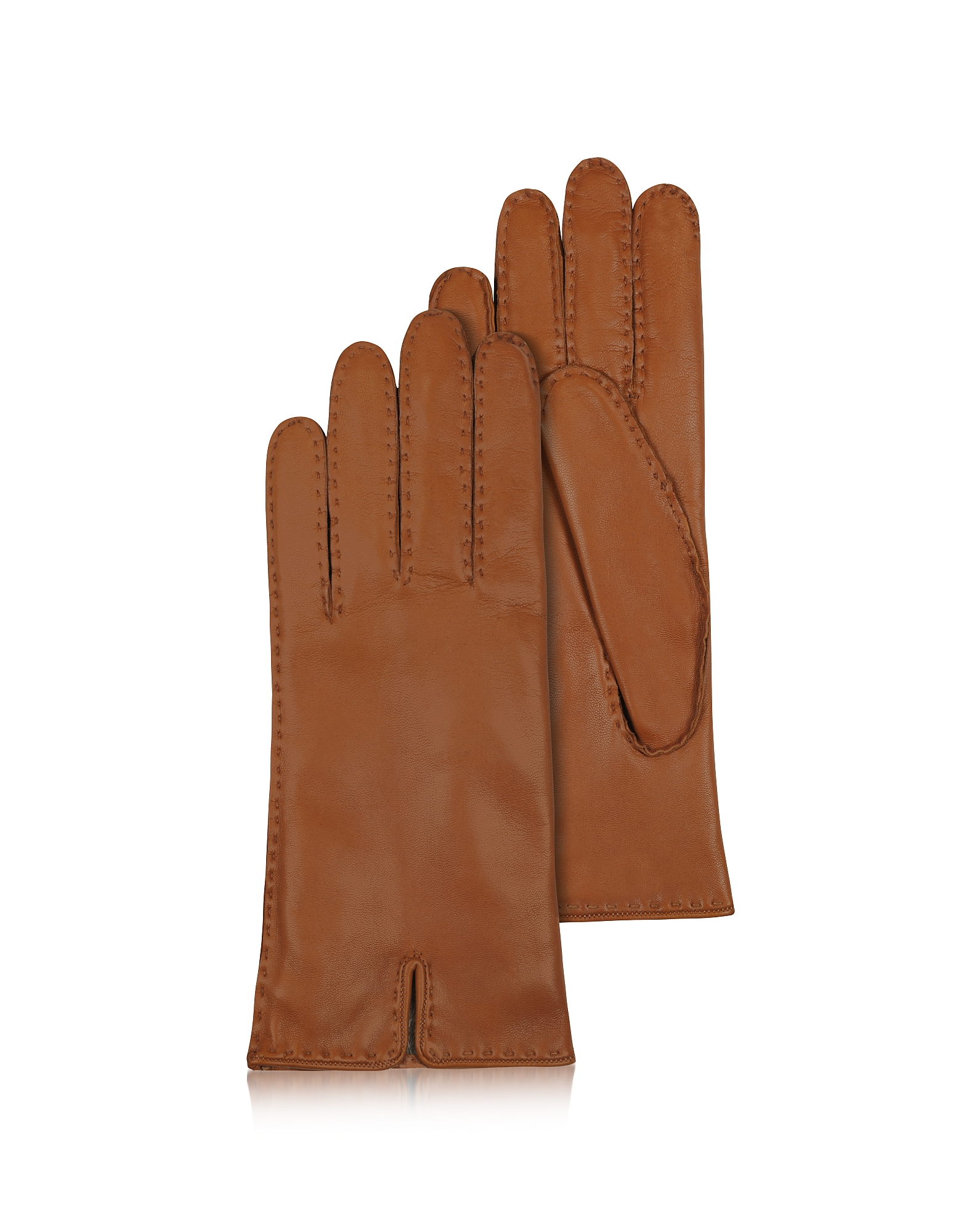 Forzieri Women's Gloves, Women's Cashmere Lined Brown Italian Leather Gloves