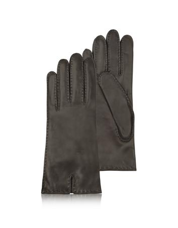 Lux-ID 209956 Women's Cashmere Lined Dark Brown Italian Leather Gloves