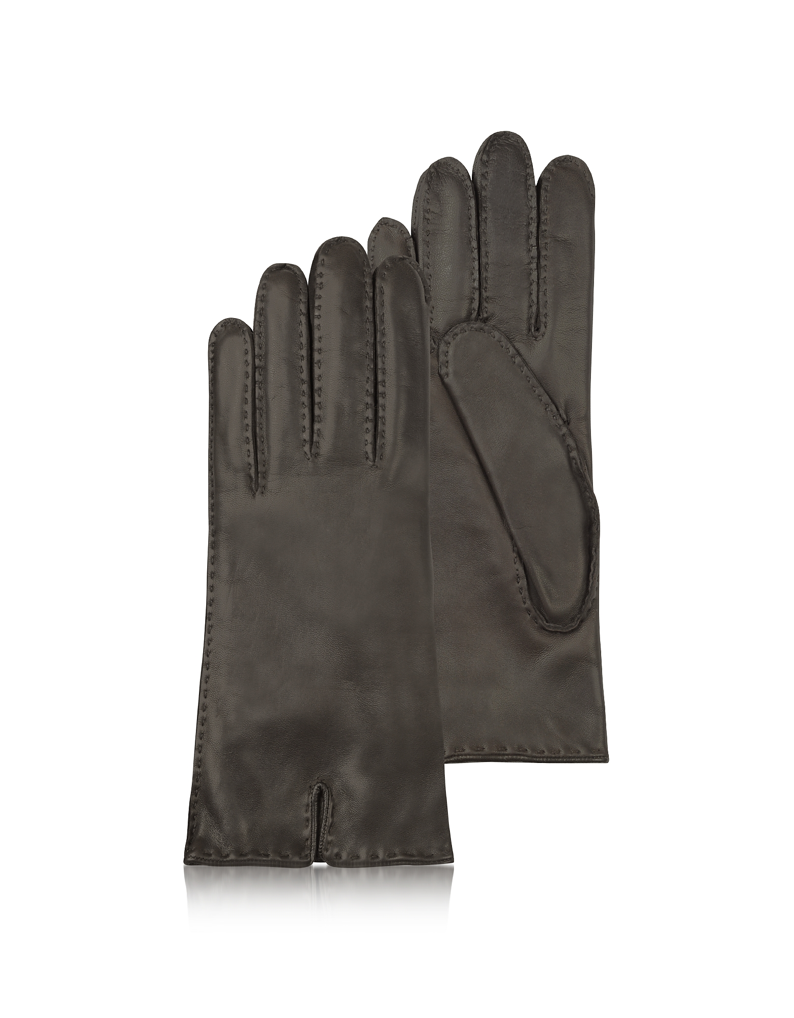 Forzieri Women's Gloves, Women's Cashmere Lined Dark Brown Italian Leather Gloves