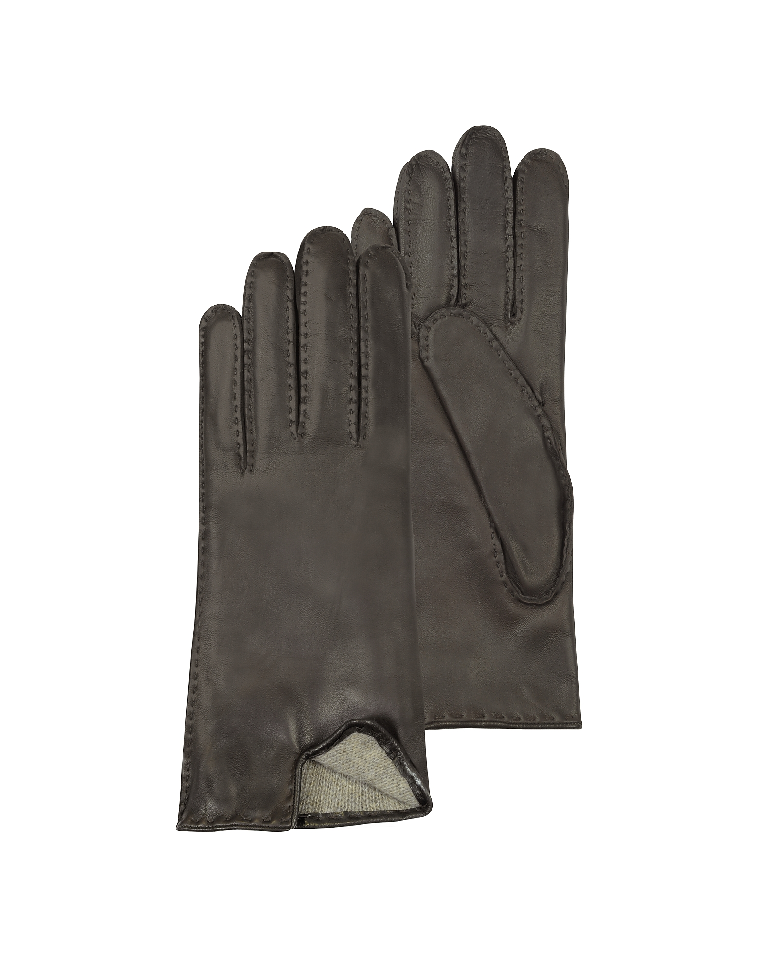 Women's Cashmere Lined Dark Brown Italian Leather Gloves от Forzieri.com INT