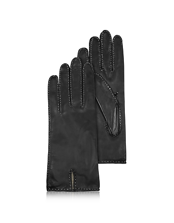 Forzieri - Women's Stitched Cashmere Lined Black Italian Leather Gloves