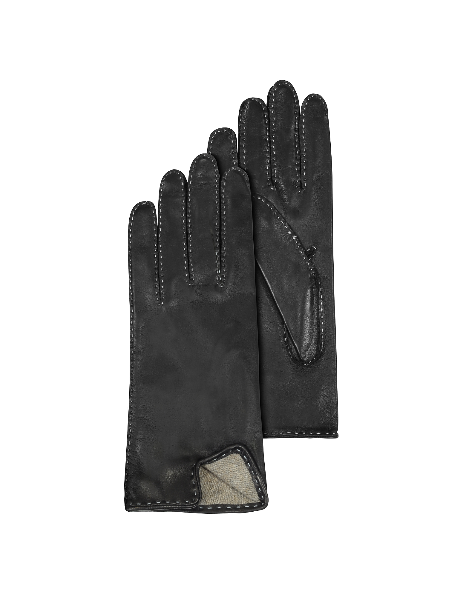 Women's Stitched Cashmere Lined Black Italian Leather Gloves от Forzieri.com INT