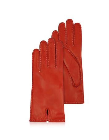 Lux-ID 209958 Women's Stitched Cashmere Lined Red Italian Leather Gloves