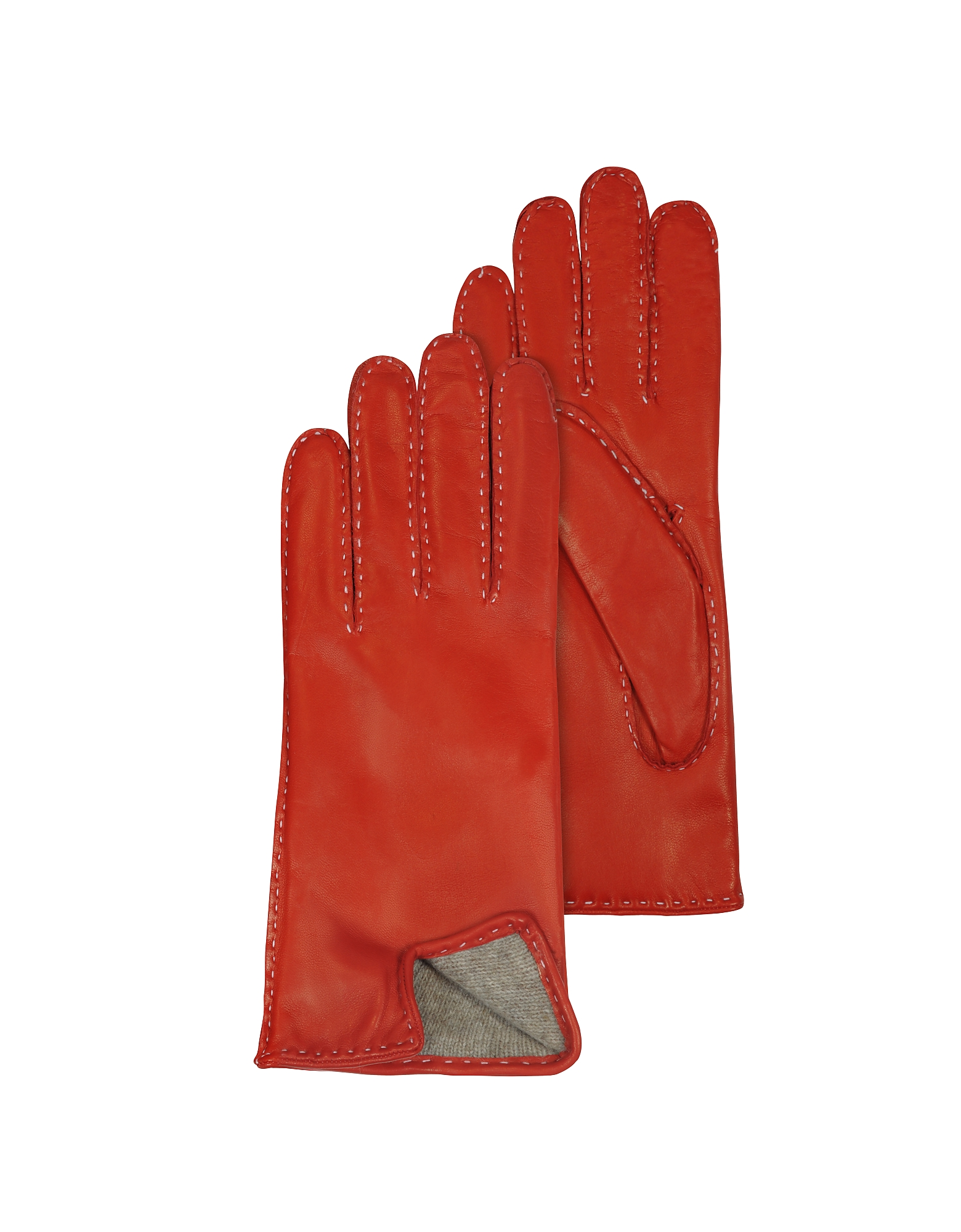 Women's Stitched Cashmere Lined Red Italian Leather Gloves от Forzieri.com INT