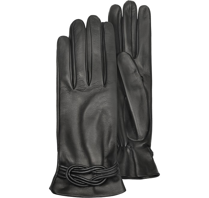 Women's Black Leather Gloves w/ Knot - Forzieri