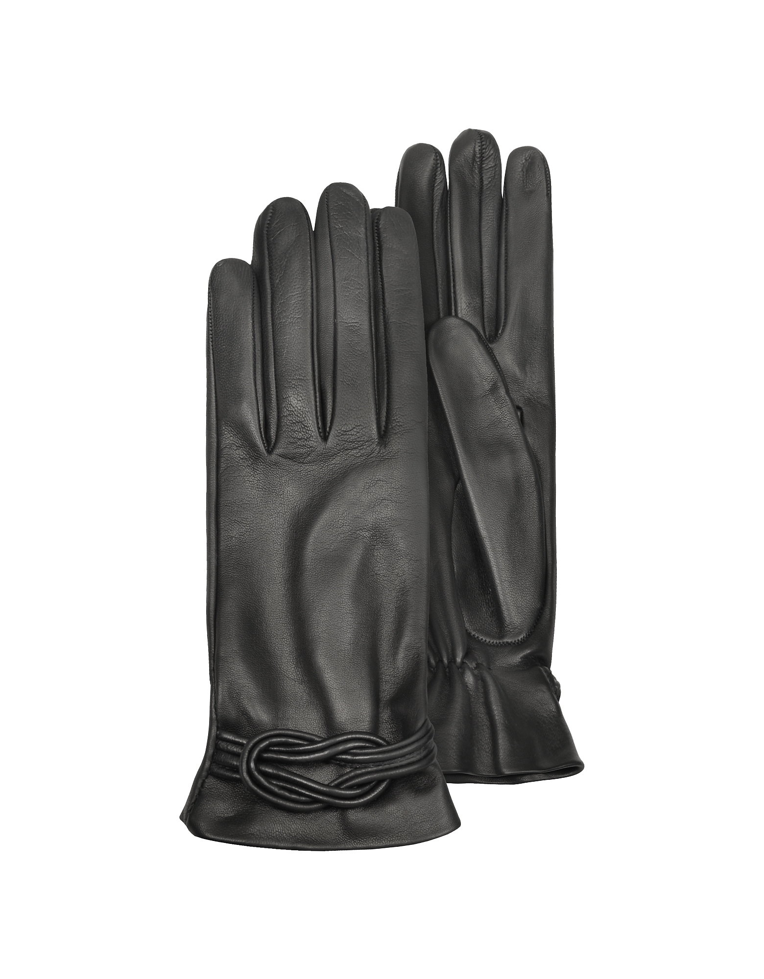 Forzieri Designer Women's Gloves, Women's Black Leather Gloves w/ Knot