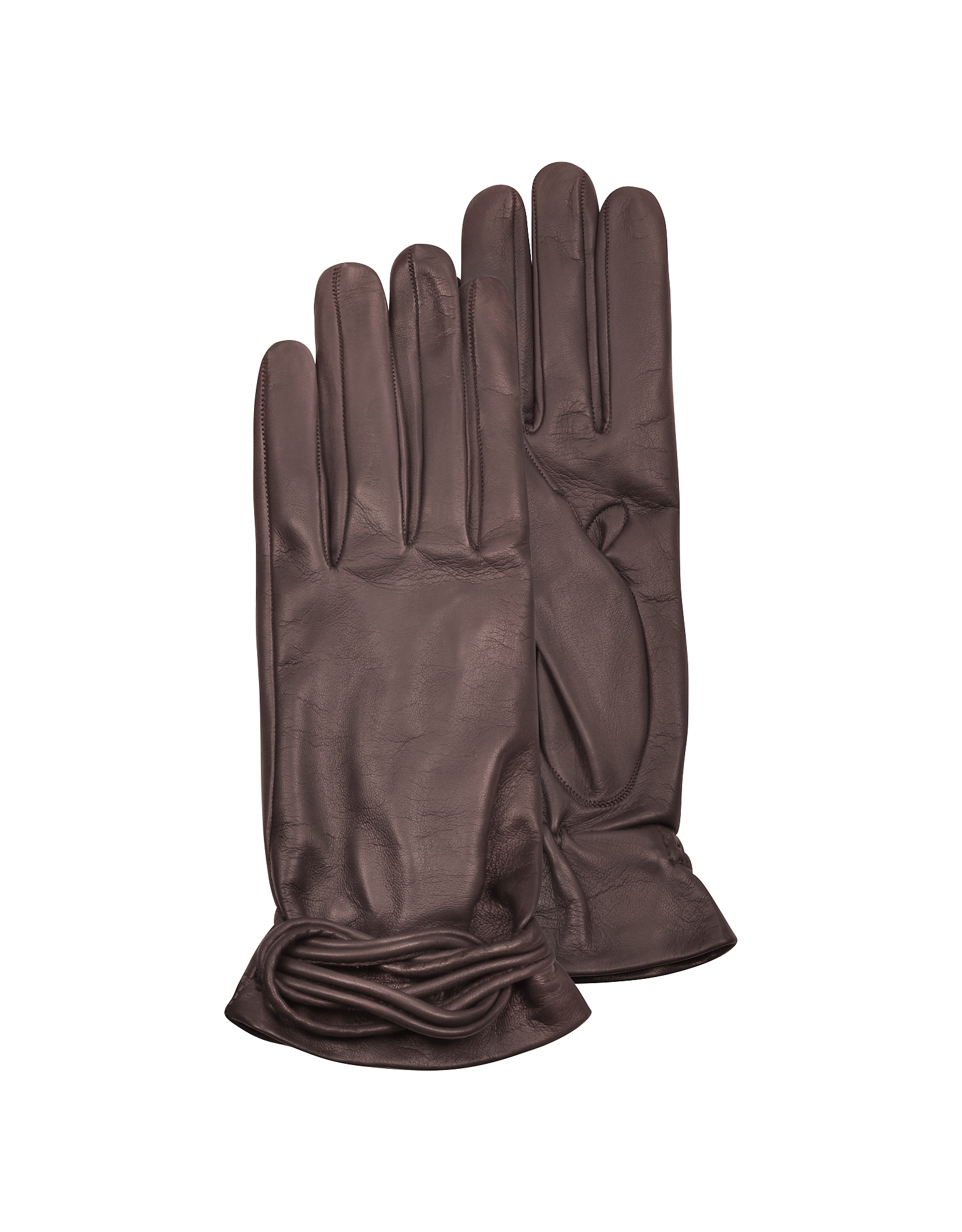 Forzieri Women's Gloves, Women's Brown Leather Gloves w/Knot
