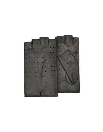 Lux-ID 209961 Women's Black Perforated Fingerless Leather Gloves