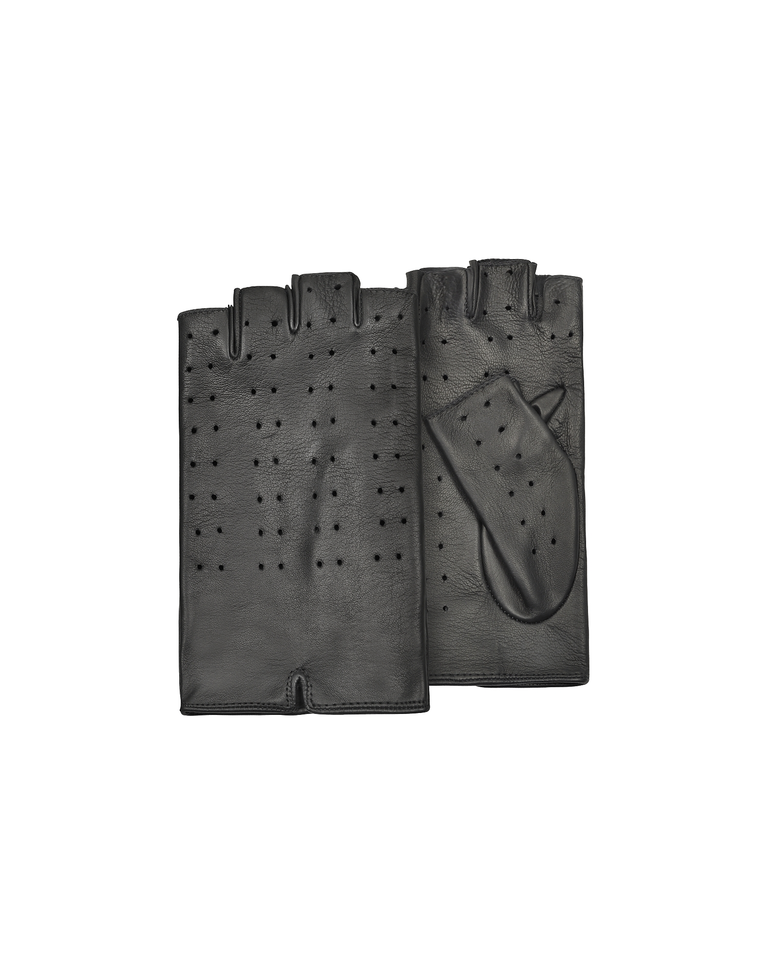Forzieri Designer Women's Gloves, Women's Black Perforated Fingerless Leather Gloves