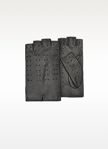 Women's Black Perforated Fingerless Leather Gloves - Forzieri