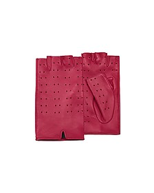 Women's Red Perforated Fingerless Leather Gloves - Forzieri