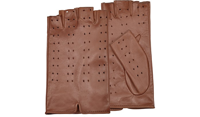 Women's Tan Perforated Fingerless Leather Gloves - Forzieri
