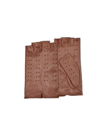 Lux-ID 209963 Women's Tan Perforated Fingerless Leather Gloves