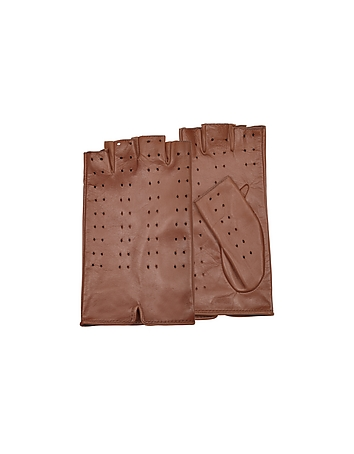 Forzieri - Women's Tan Perforated Fingerless Leather Gloves