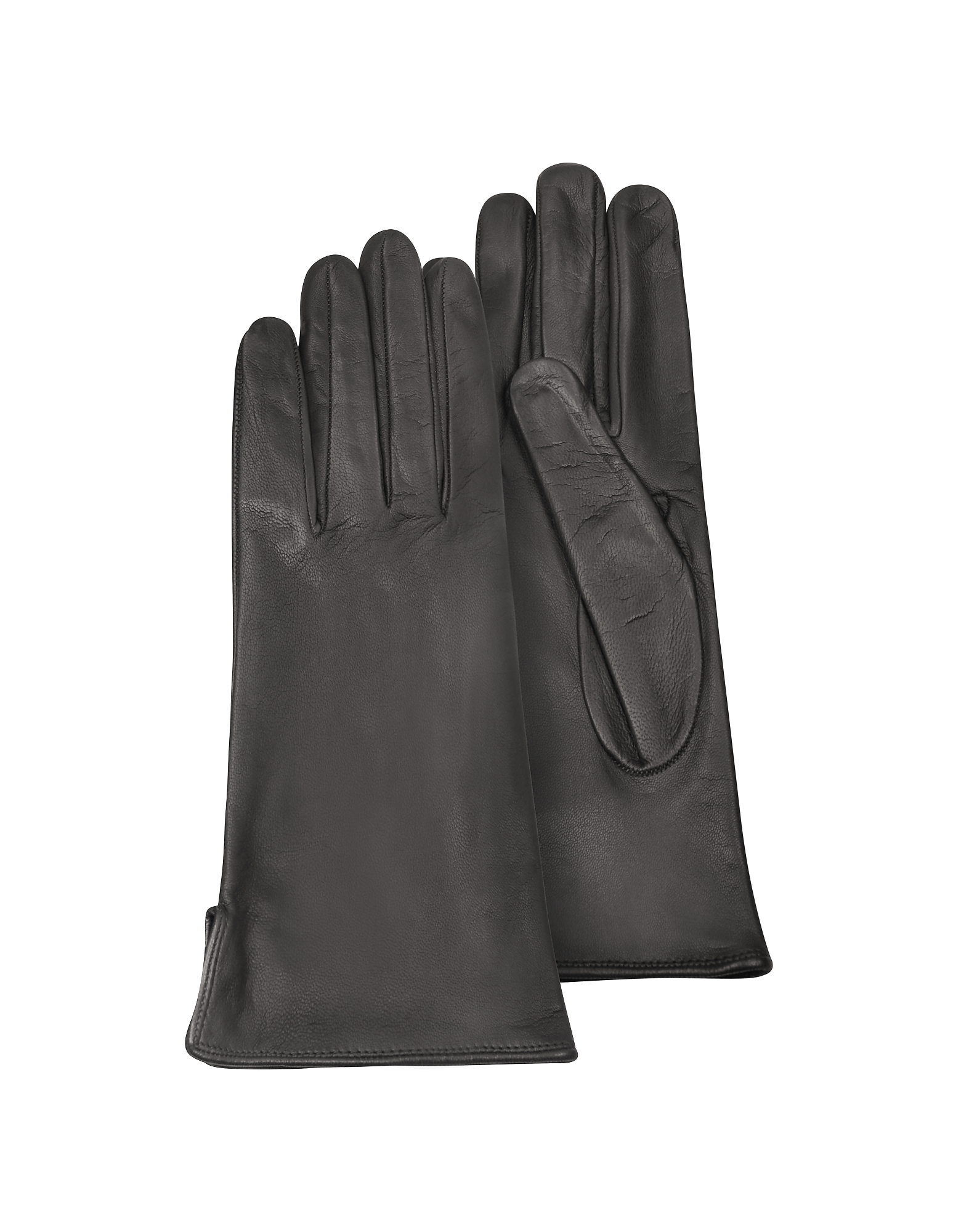Forzieri Designer Women's Gloves, Women's Black Calf Leather Gloves w/ Silk Lining