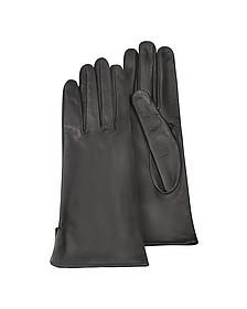 Women's Black Calf Leather Gloves w/ Silk Lining - Forzieri