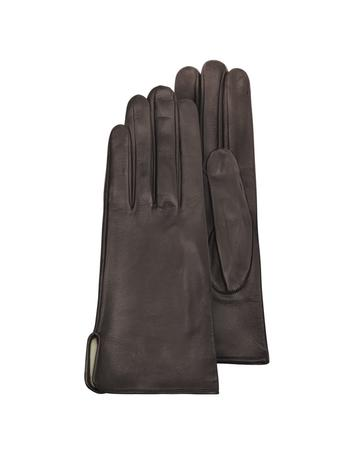 Lux-ID 209965 Women's Brown Calf Leather Gloves w/ Silk Lining