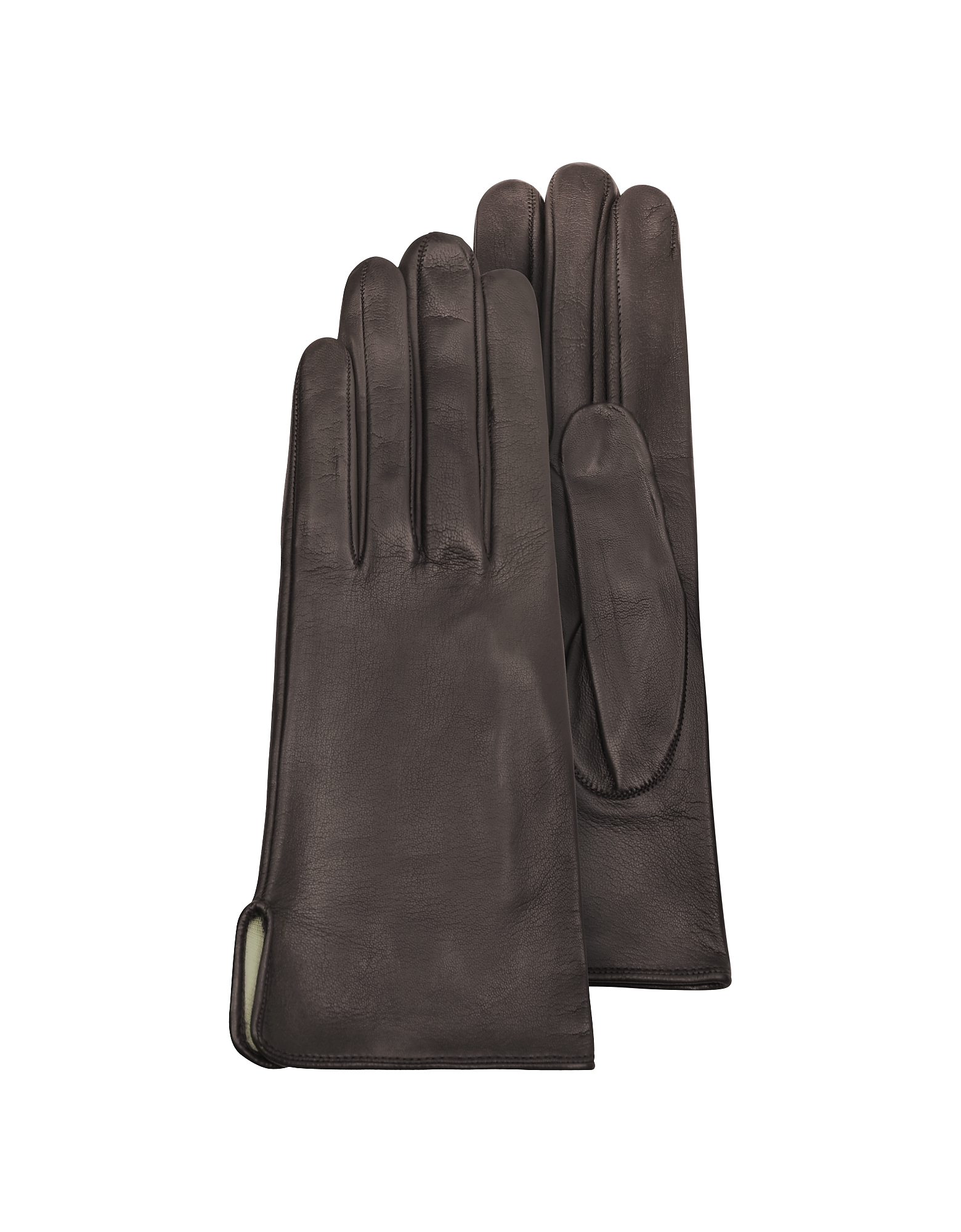 Forzieri Designer Women's Gloves, Women's Brown Calf Leather Gloves w/ Silk Lining