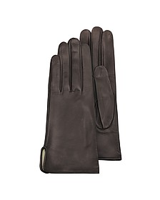 Women's Brown Calf Leather Gloves w/ Silk Lining - Forzieri