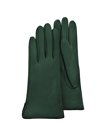 Forzieri - Forest Green Calf Leather Women's Gloves w/Silk Lining