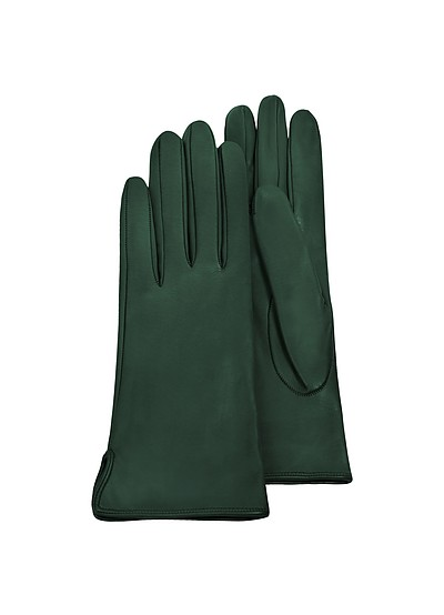 Forest Green Calf Leather Women's Gloves w/Silk Lining - Forzieri