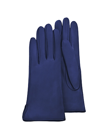 Women's Bright Blue Calf Leather Gloves w/ Silk Lining