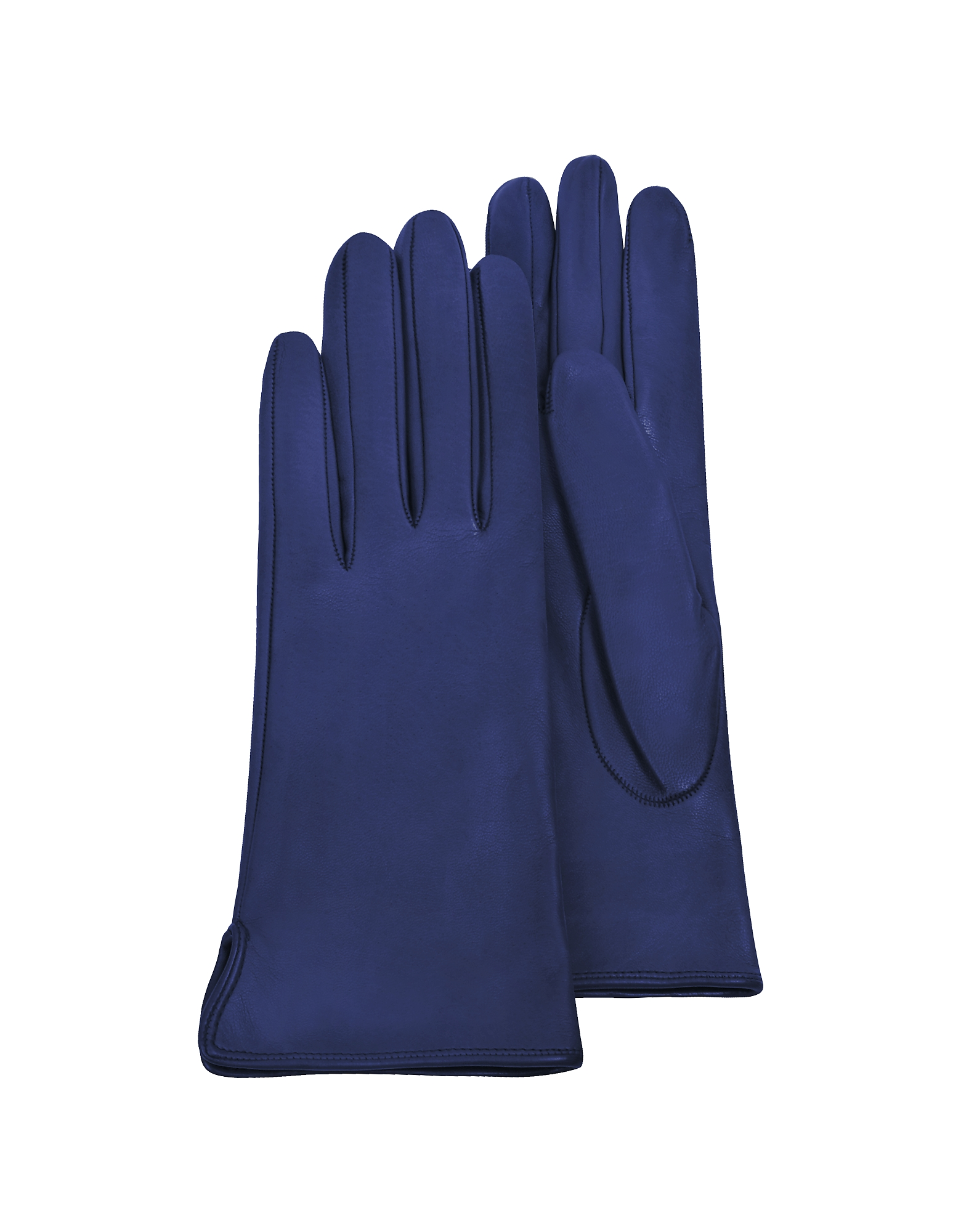Forzieri Women's Gloves, Women's Bright Blue Calf Leather Gloves w/ Silk Lining